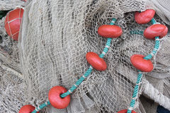 Used fishing net with floaters Royalty Free Stock Photos