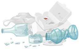 Used foam box and broken bottles on the floor Royalty Free Stock Photos