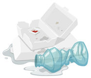 Used foam box and plastic bottle Royalty Free Stock Photo