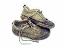 Used footwear. Old used at work footwear Stock Photo