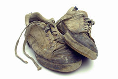 Used footwear. Old used at work footwear royalty free stock photo