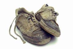 Used footwear. Old used at work footwear Royalty Free Stock Photo