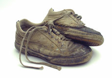 Used footwear. Old used at work footwear royalty free stock images