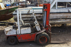 Used forklift truck in yard Stock Photos