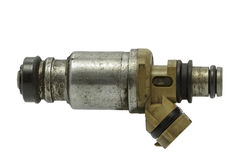 Used fuel injector on a white background Royalty Free Stock Photos