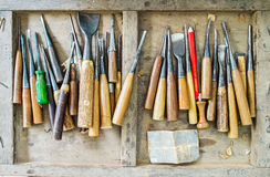 Used Full Set of Carpenter Tools for Wood Handcraft Work in The Old Wooden Box Royalty Free Stock Photo