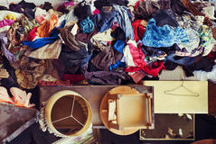 Used furniture and clothes on sale in a flea market Stock Images