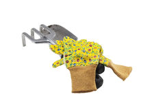 Used garden tools with gloves Stock Image
