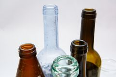 Used glass bottles detail Stock Photography