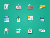 Used goods shop round flat color icons Royalty Free Stock Image