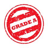Used Grade A stamp. Red used grade A stamp,. isolated on white background Stock Photography
