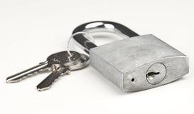 Used gray closed padlock Stock Photo