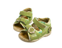 Used green child sandals isolated Stock Photography