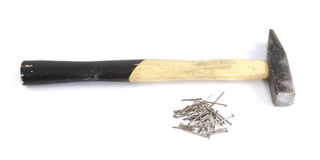 Used hammer with nails Royalty Free Stock Photos