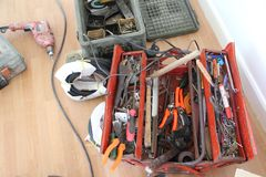 Used hand tool set Stock Photos