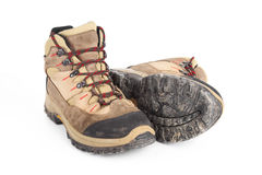 Used hiking boots Stock Images