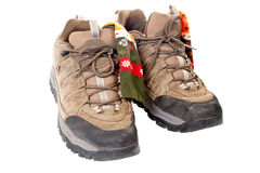 Used hiking boots and socks Stock Image