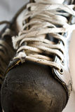 Used ice hockey skates closeup. Well used hockey skates with scars from hits and action Royalty Free Stock Photography