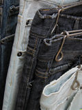 Used jeans. In a second hand street shop Royalty Free Stock Photography