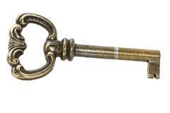 Used key. Closeup of one used key on white background stock photo