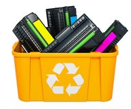 Free Used Laser Printer Cartridges In Recycling Bin, 3D Rendering Stock Photography - 126647502
