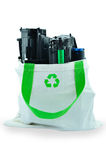 Used laser printer toner. In a recycle bag Royalty Free Stock Photography