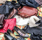 Used leather purses,handbags and shoes to re-use Royalty Free Stock Images