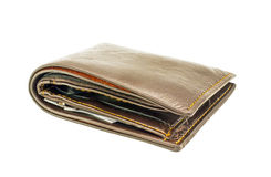 Used leather wallet with money Stock Photo