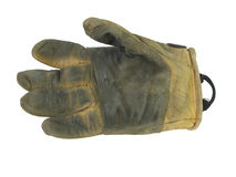 Used leather work glove. Isolated used right leather work glove Royalty Free Stock Images