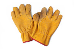 Used leather workgloves Stock Photos