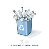 Used Light Bulbs in Recycling Bin. Used light bulbs in blue recycling trash bin in cartoon style. E-waste separation management concept Stock Images