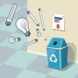 Used Light Bulbs Recycling Bin Trash Royalty Free Stock Photos
