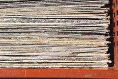 Used LPs. Stacked second hand vinyl records in crate Royalty Free Stock Images