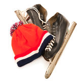 Used male ice skates and dutch hat Royalty Free Stock Photo