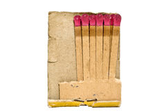 Used Matchbook. Old used matchbook missing cover and a few matches. Isolated Royalty Free Stock Images
