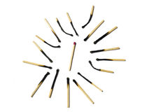 Used matches around the new match Royalty Free Stock Photography