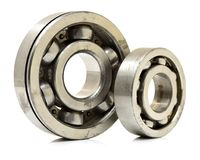 Used metal ball bearing. On white background Royalty Free Stock Photos