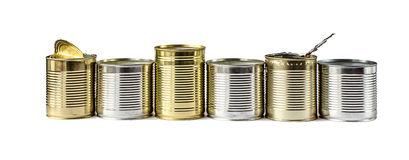 Used metal cans on a white background. Waste management. Royalty Free Stock Photo