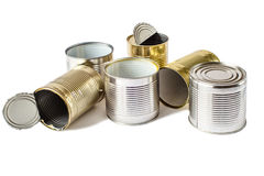 Used metal cans on a white background. Waste management. Royalty Free Stock Images