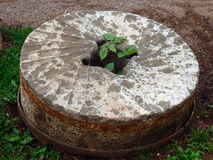 A used millstone from pioneer days Royalty Free Stock Photo
