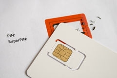 Used mobile phone sim card Royalty Free Stock Images