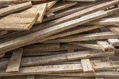 Used Mold Wood in the Construction Work Site. Construction Timber Wood Material.  stock photos