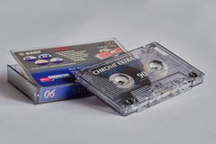 Used music cassette with plastic box royalty free stock photos