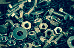 Used nut and bolts for equipment industrial background Royalty Free Stock Photos