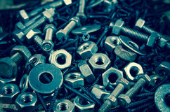 Used nut and bolts for equipment industrial background Stock Photography