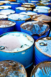 Used oil drums Stock Photo