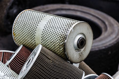 Used oil filter. Pile of used oil filter of a car engine Stock Images