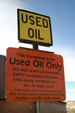 Used Oil Sign. This is a sign you would see at a public dump or landfill. It reads Used Oil. Could be great for environmental concerns, oil and gas industry Stock Photo