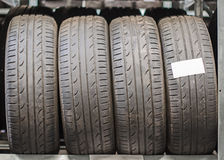 Used old car tires. Stock Photo
