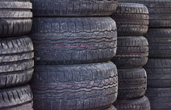 Used old car tires Stock Photos
